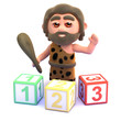 Caveman with numbered wooden blocks