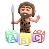 Caveman with alphabet wooden blocks