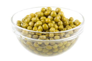 green peas, in a bowl, isolated, white background
