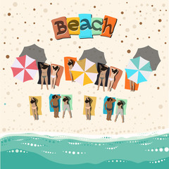 Summer beach, vector eps10 illustration.