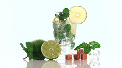 Pouring soda in mojito