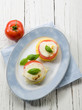 mozzarella tomatoes and porridge, vegetarian appetizer