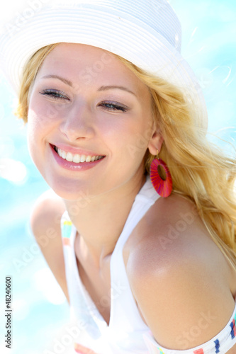 Closeup of beautiful girl at the beach