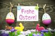 Ostereieranhänger mit Karte und Osterwiese mit Hasen