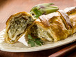 strudel with artichoke and ricotta, vegetarian food