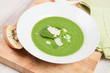 spinach soup with parmesan and crostini