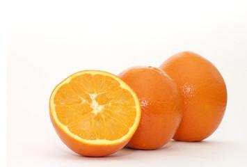 orange and slices isolated on white