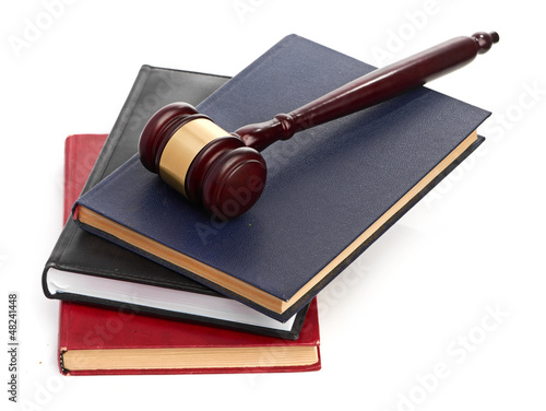 books and gavel studio isolated on white