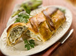 strudel with artichoke and ricotta, selective focus