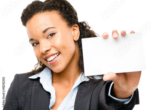 Pretty African American Businesswoman holding placard isolated o