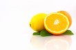 Orange and Lemon on white background