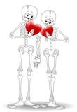 Skeletons Cartoon Couple Valentine's Day-Scheletri innamorati
