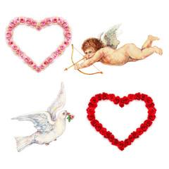 Cupid, Taube und Rosenherzen