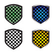 checkered shields. vector illustration
