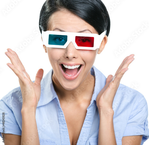 Close-up of excited girl in 3D glasses, isolated on white