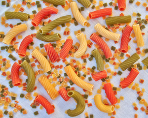colorful pasta closeup, food background