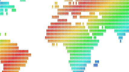 Rainbow world map made of people