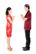 Asian Chinese people greeting