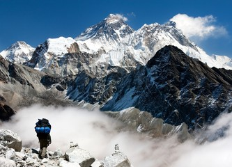 view of Everest from Gokyo with tourist on the way to Everest