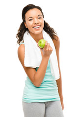 Healthy young mixed race woman holding green apple isolated on w