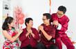 Happy Asian family reunion