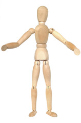 Wooden dummy with open arms.