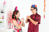 Asian people greeting during Chinese New Day