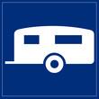 Schild blau - Wohnwagen