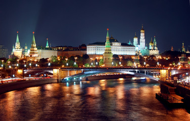 Moscow Cremlin night view panorama