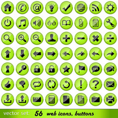 Set of 56 glossy green web icons, buttons