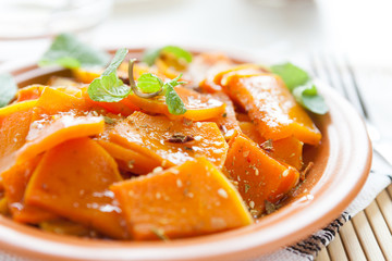 pumpkin baked with honey-mint sauce
