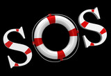 SOS label with life buoy