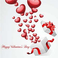 Happy Valentine's day with hearts fly from open gift present box