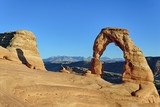 horizontal view of sunset at Delicate Arch