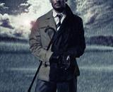 handsome man and the autumn rain