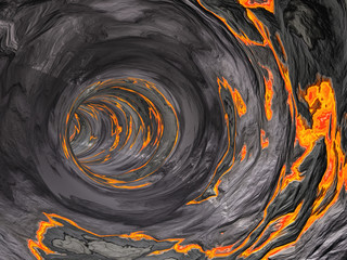 Concept abstract perspective render of a futuristic curve tunnel