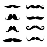 Set mustache on white background