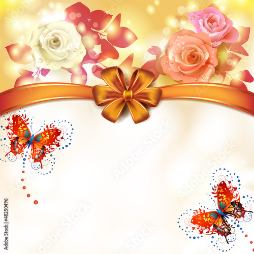 Background roses with orange bow and butterflies