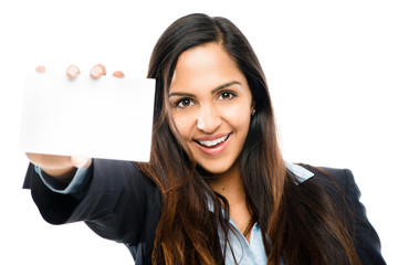 happy Indian businesswoman holding white placard isolated