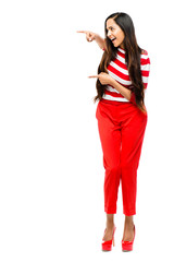 Portrait of beautiful Indian woman Valentines day wearing red on