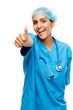 Closeup confident Indian doctor surgeon thumbs up isolated on wh