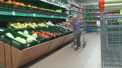 Child with a Shopping Cart at the Supermarket