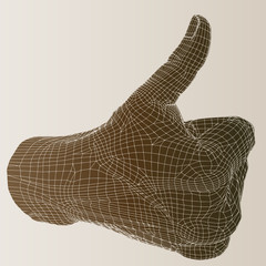High resolution conceptual 3D human hand with thumb up