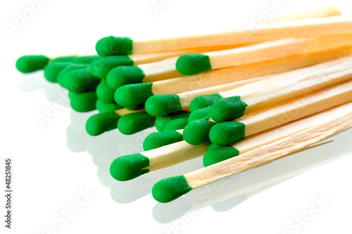 Matches close up isolated over white