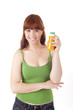 Beautiful woman with orange juice