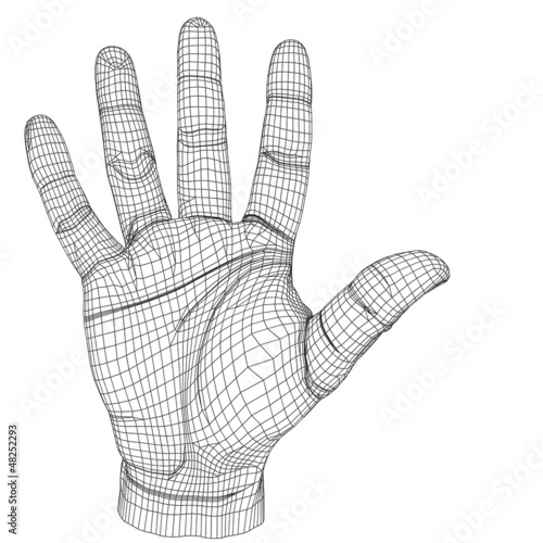 High resolution conceptual 3D cyber white wireframe human hand