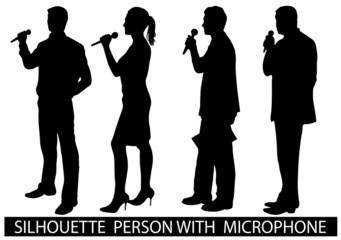 silhouette  people with microphone