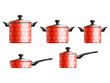 Set of five red painted cooking pots with flower pattern. Eps10