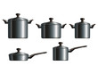 Set of five metal cooking pots. Eps10