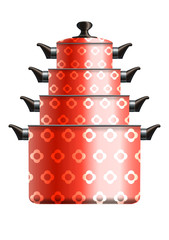Set of four red cooking pots standing in pyramide. Eps10